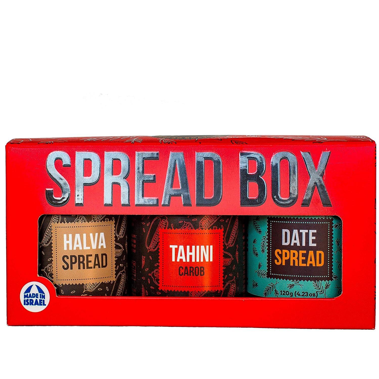 Israeli Carob Tahini, Halva and Date Spread - Holy Land Spread Gift Box (2 x 3.35, 1 x 4.23 Oz)