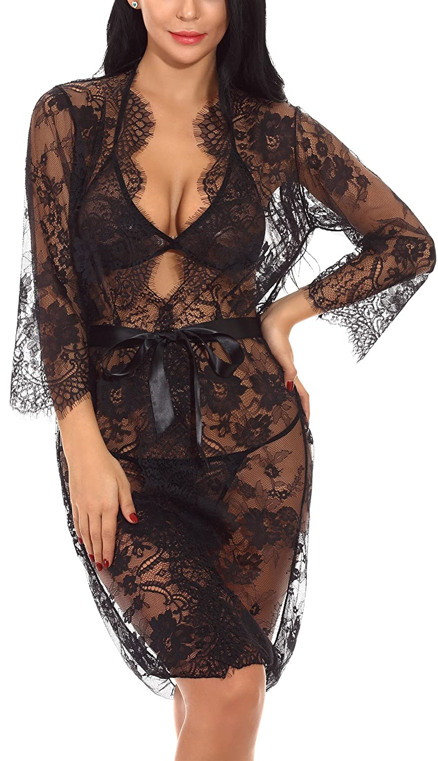 0c8fdf8996 Amazon.com  XYlove Women s Sexy Lace Long Robe Lingerie Set(4 Pieces)   Clothing