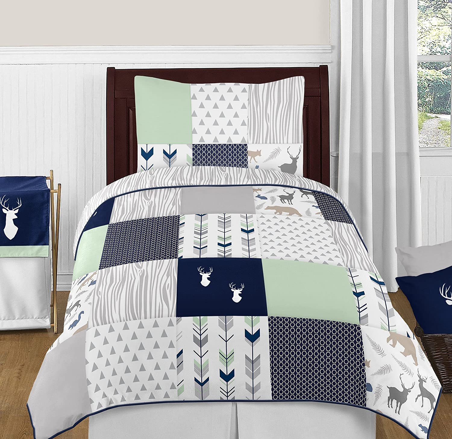 Navy Blue, Mint and Grey Woodsy Deer Boys 4 Piece Kids Childrens Twin Bedding Set