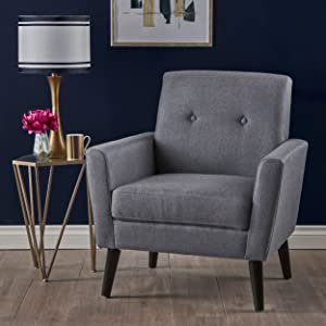 Christopher Knight Home 303246 Sierra Mid Century Dark Grey Fabric Club Chair