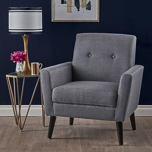 Christopher Knight Home Sierra Mid Century Dark Grey Fabric Club Chair