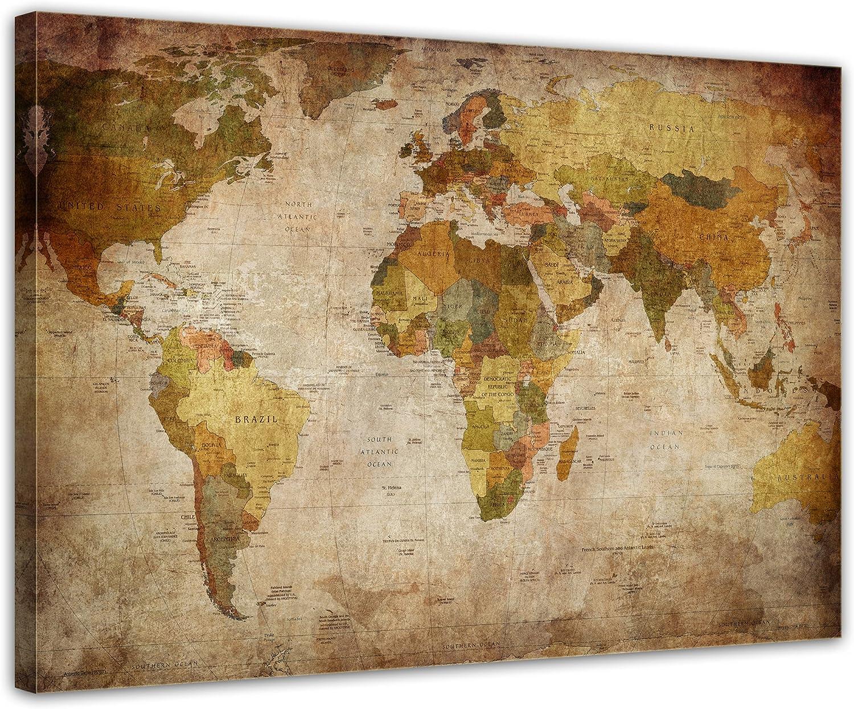 Bilderdepot24 Cuadros en Lienzo Retro Mapa del Mundo - 60 x 50 cm - Listo tensa, Directamente Desde el Fabricante: Amazon.es: Hogar