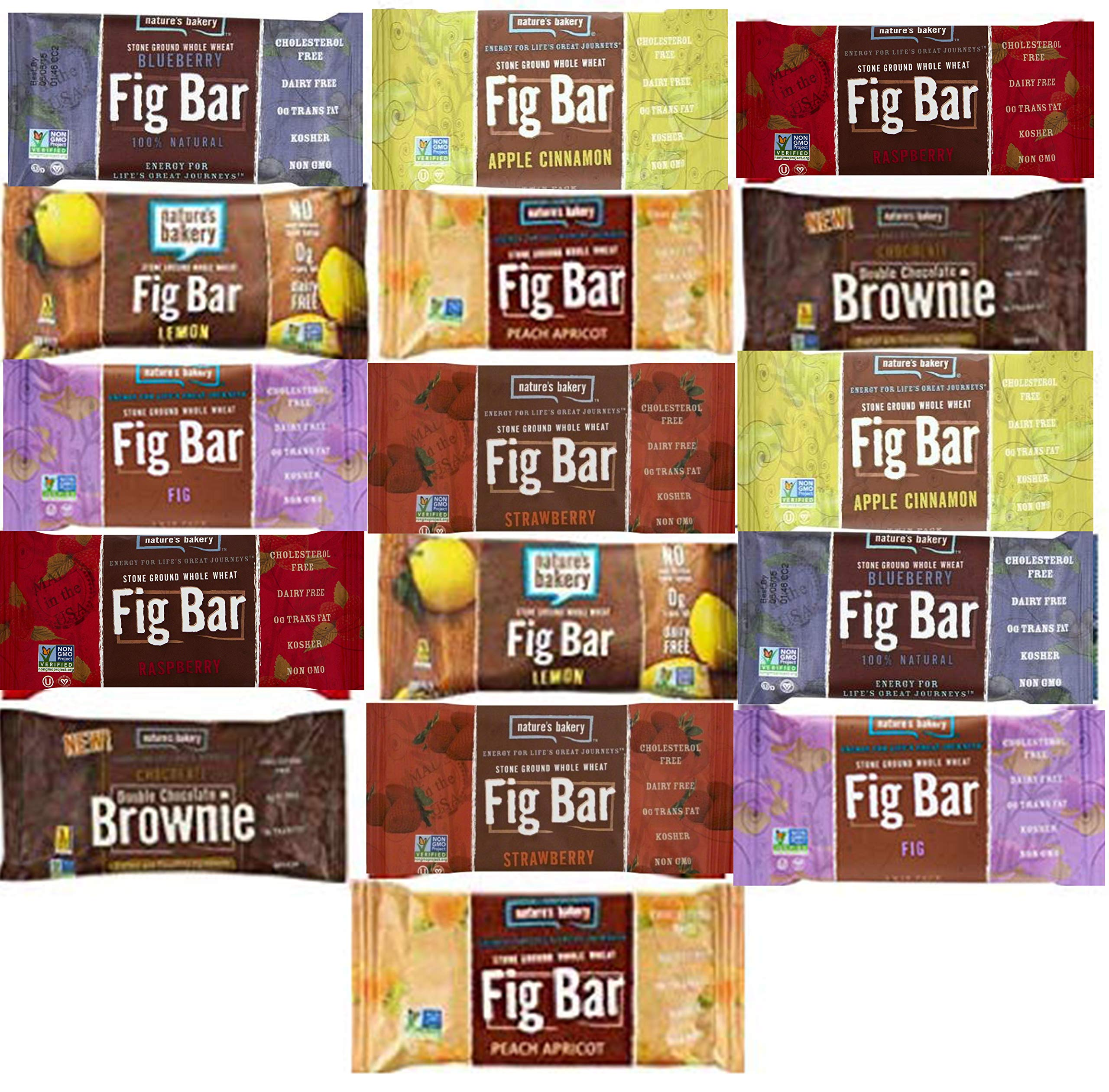 Nature's Bakery Stone Ground Whole Wheat Fig Bar (16 COUNT) Variety Pack Sampler, All Natural NON GMO Snack Food (16 Count)