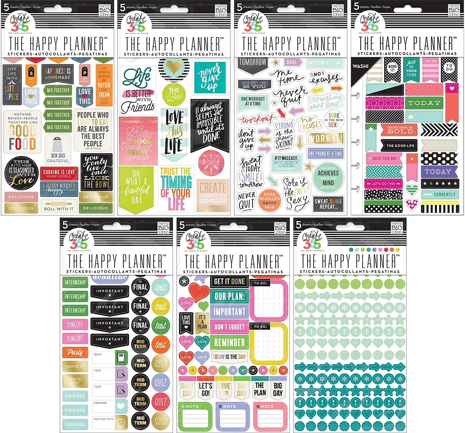 Create 365 Happy Planner Stickers Bundle - Bold Washi, Colorful Dots, Everyday Reminders, Fitness, Good Food, Life Quotes, School College - 7 Items