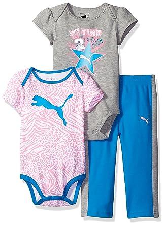 ec45edbbd0083 PUMA Girls' 3-Piece Bodysuit and Pant Set