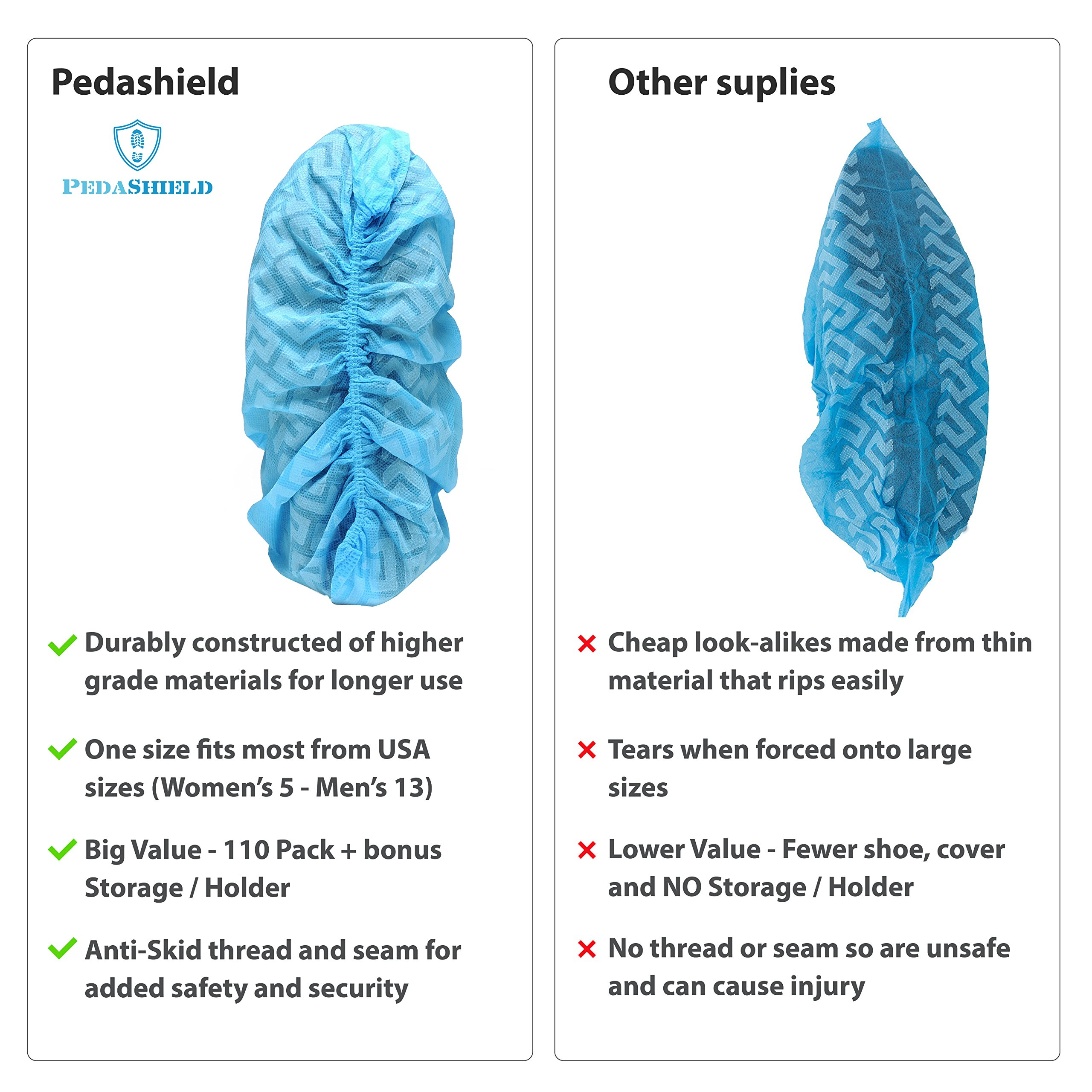 330 Pack Premium Disposable Boot & Shoe Covers by PedaShield | Booties are Large, Durable, Water Resistant, Blue, Recyclable | One Size Fits Up to XL Men's 13 | Built for 25 percent MORE USE (330)
