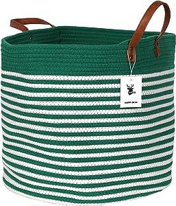 "Happydeer Cotton Rope Storage Basket Large Size Green Mixed White 17"" x 17"" x 15"" PU Leather Handle, Blanket Storage Basket, Washing Basket, Toy Storage, Nursery Hamper, Storage Bins"