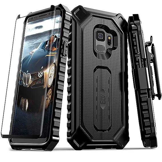 super popular 3e01b b633a Samsung Galaxy S9 Case, ELV [Croco Series] Premium Holster Defender Belt  Clip Rugged Case - Curved Glass Screen Protector & Kickstand for Samsung ...