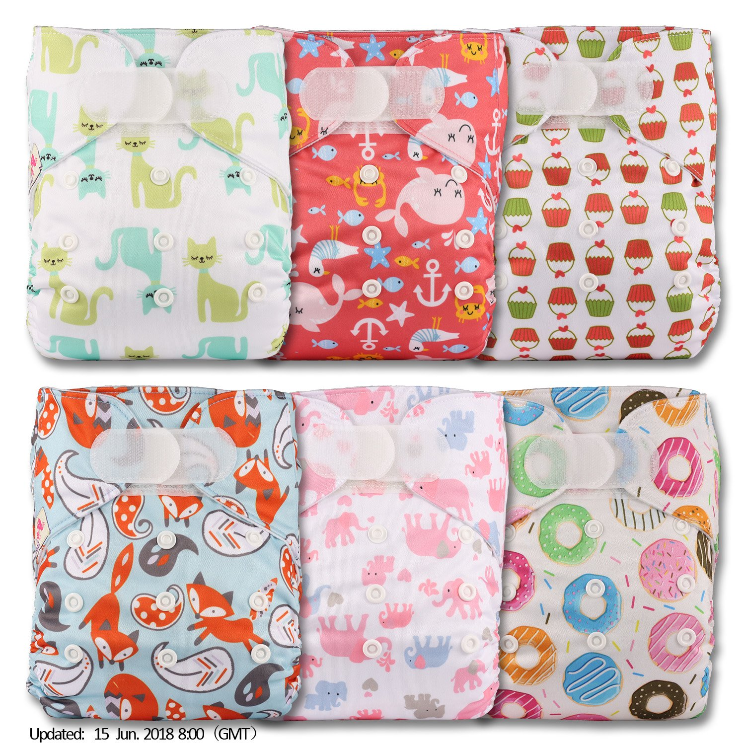 Littles & Bloomz, Reusable Pocket Cloth Nappy, Fastener: Hook-Loop, Set of 6, Patterns 601, Without Insert
