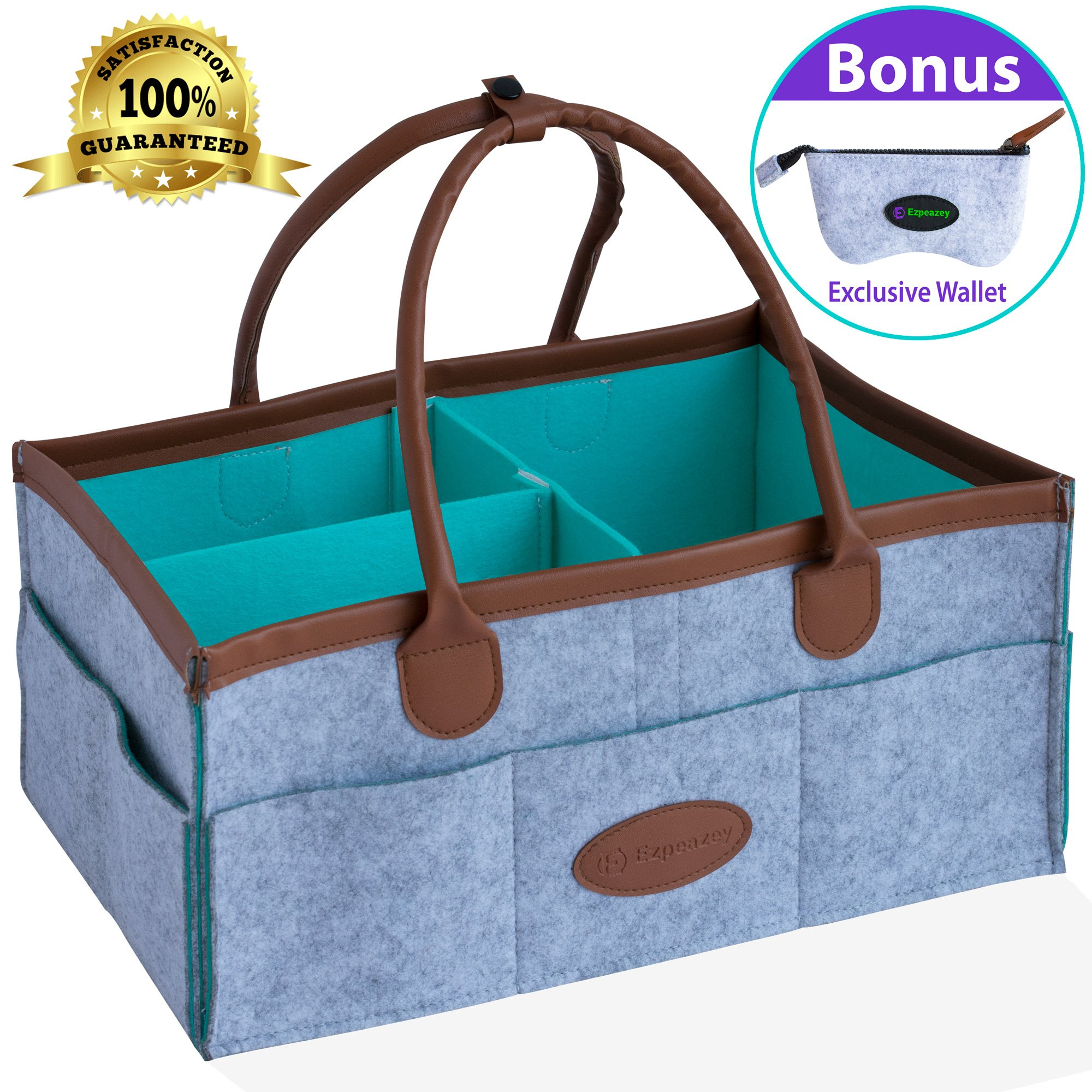 Ezpeazey Diaper Caddy Organizer Basket With Wallet Bag   Leather Handles, Smart Clip, Unisex Grey, Cute Rectangular & Portable Design   For Baby Shower Gifts, Bibs, Toys, Creams, Wipes, Cloths & More