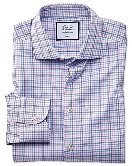 992b76aa450 Classic Fit Business Casual Non-Iron Pink and Blue Check Cotton Formal Shirt  Single Cuff by Charles Tyrwhitt  Amazon.co.uk  Clothing