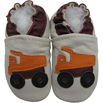 Carozoo baby boy soft sole leather infant toddler kids shoes Dump Truck Cream