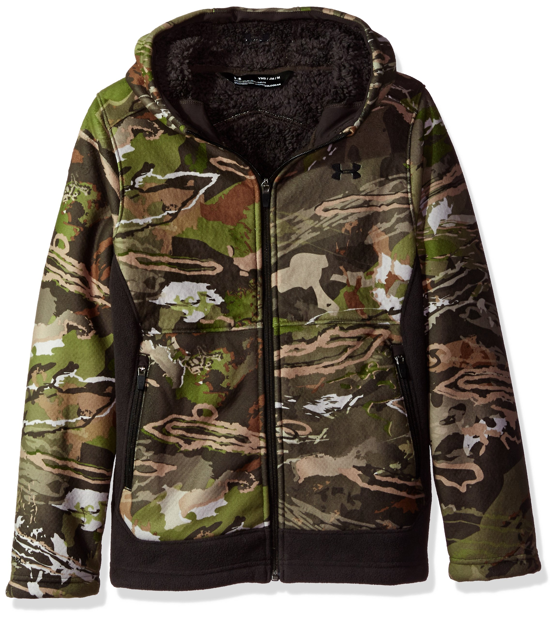 Under Armour Boys Stealth Fleece Jacket, Ridge Reaper Camo Fo /Black, Youth Small