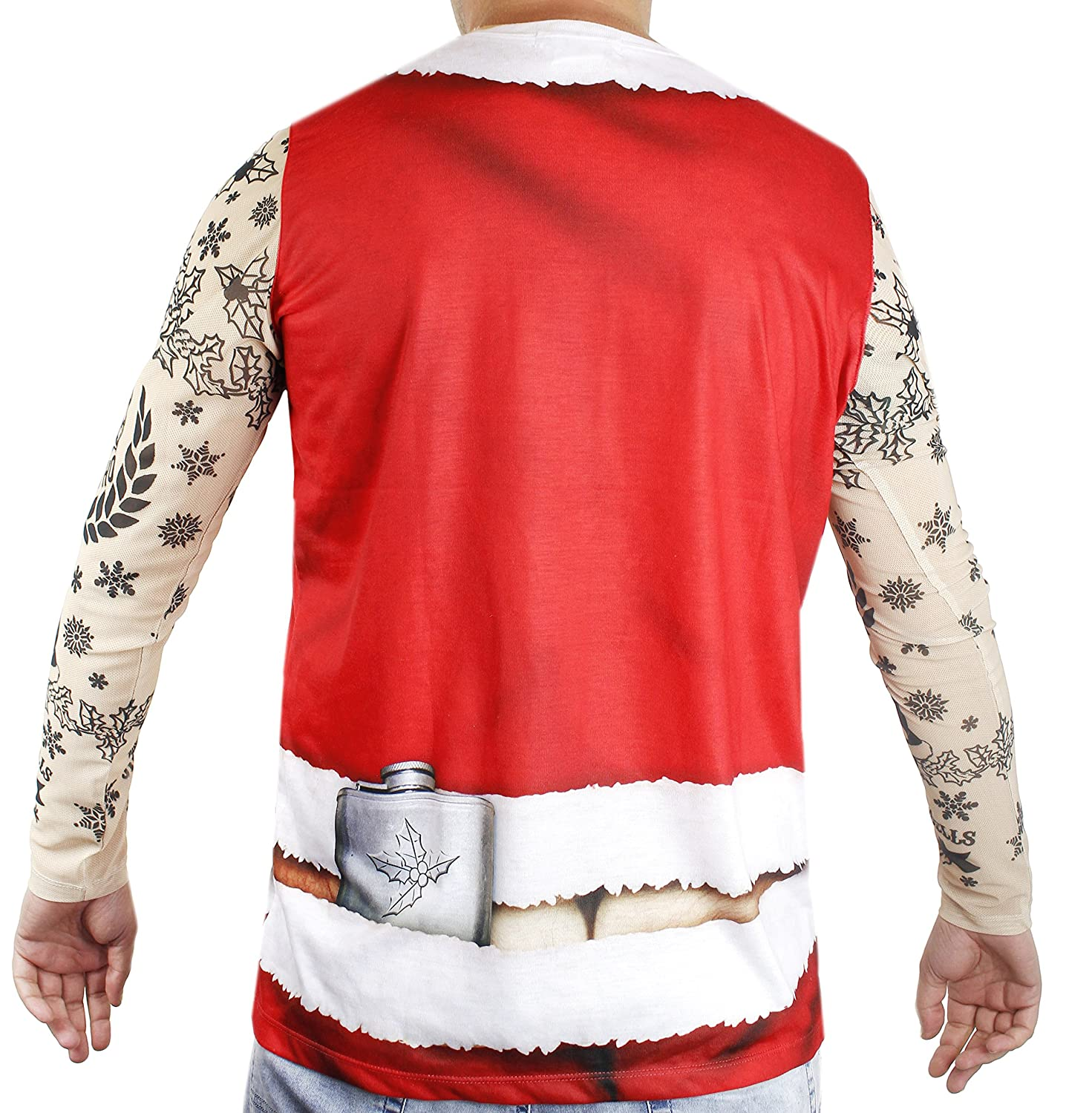 Adult Size Small Faux Real Xmas Tattoo Santa Suit Printed T-Shirt
