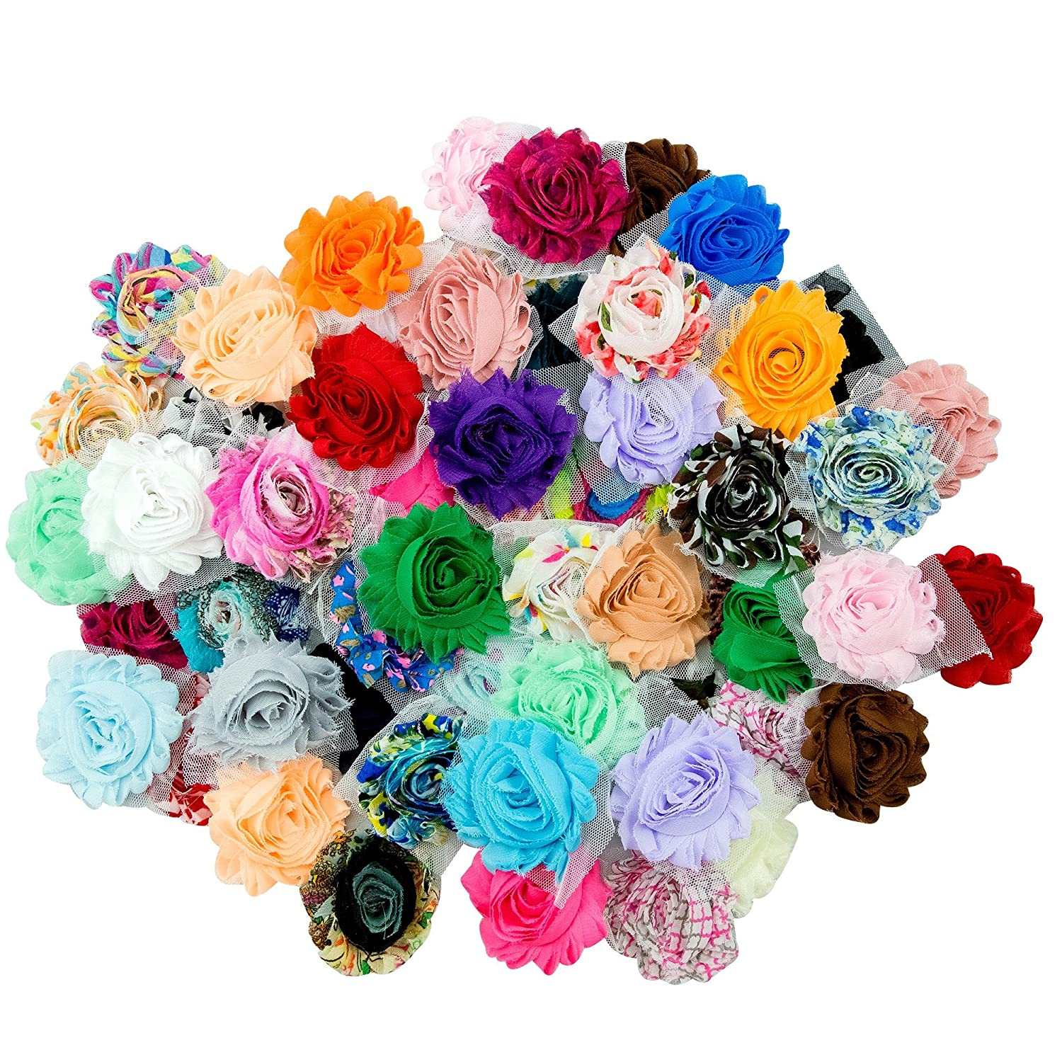 JLIKA (50 pieces) Shabby Flowers - Chiffon Fabric Roses - 2.5 - Solids and Prints Included - Assorted Color Mix - Single Flowers Grab Bag