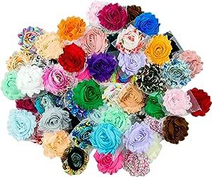 Chiffon Shabby Flowers Flat Back With Rhinestone Crystal Center DIY Dust Pink Flowers Satin Mesh Flowers