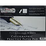 Amazon Price History for:US Art Supply PCP70-09X12-2PK Premium Calligraphic Practice Paper Pad, Calligraphy Paper With Printed Practice Rule And Slanted Grid, 19 lbs. Bond (70 gsm), Pad Of 50-Sheets, 2 Pads