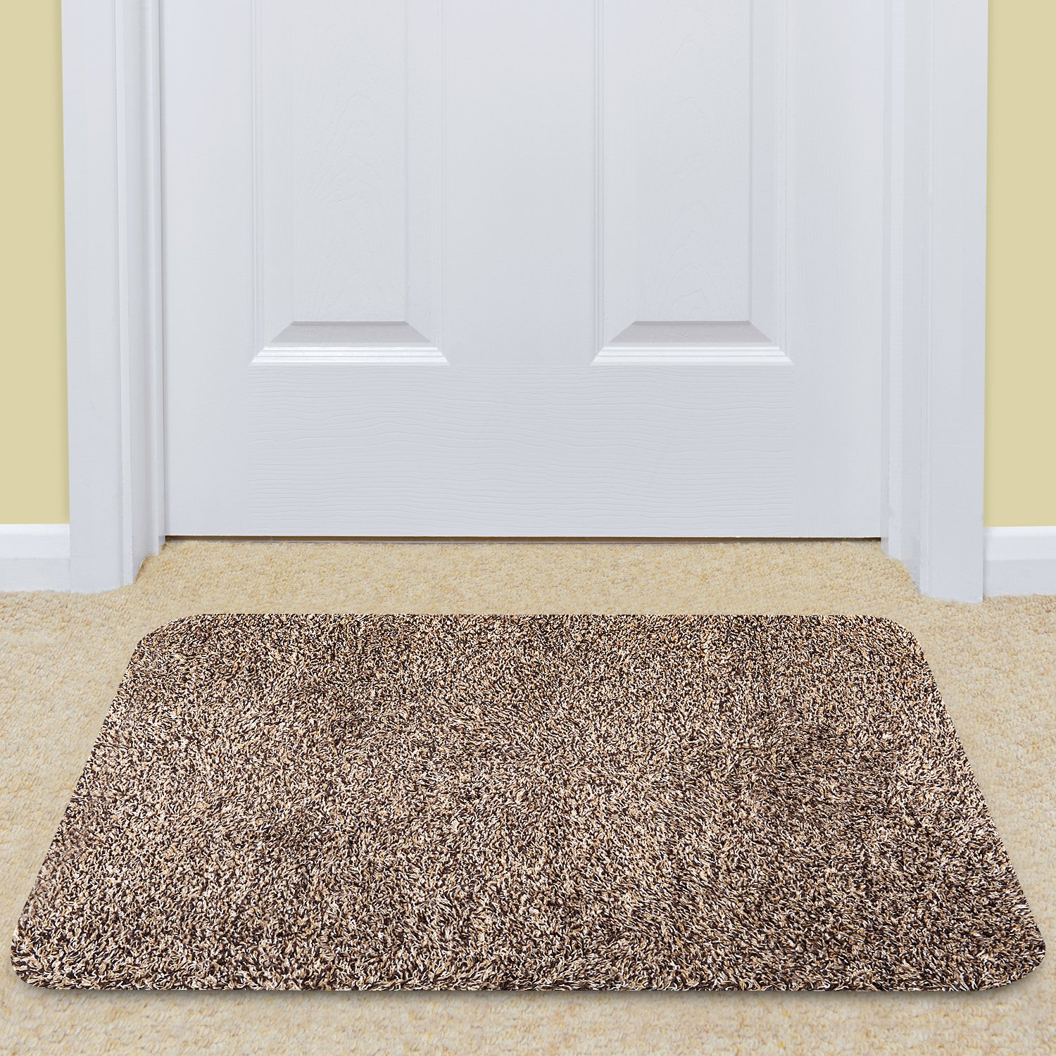 Large Indoor Doormat Super Absorbs Mud Mat 36''x 24'' Latex Backing Non Slip Door Mat for Front Door Inside Floor Dirt Trapper Mats Cotton Entrance Rug Shoes Scraper Machine Washable Carpet Brownish Tan