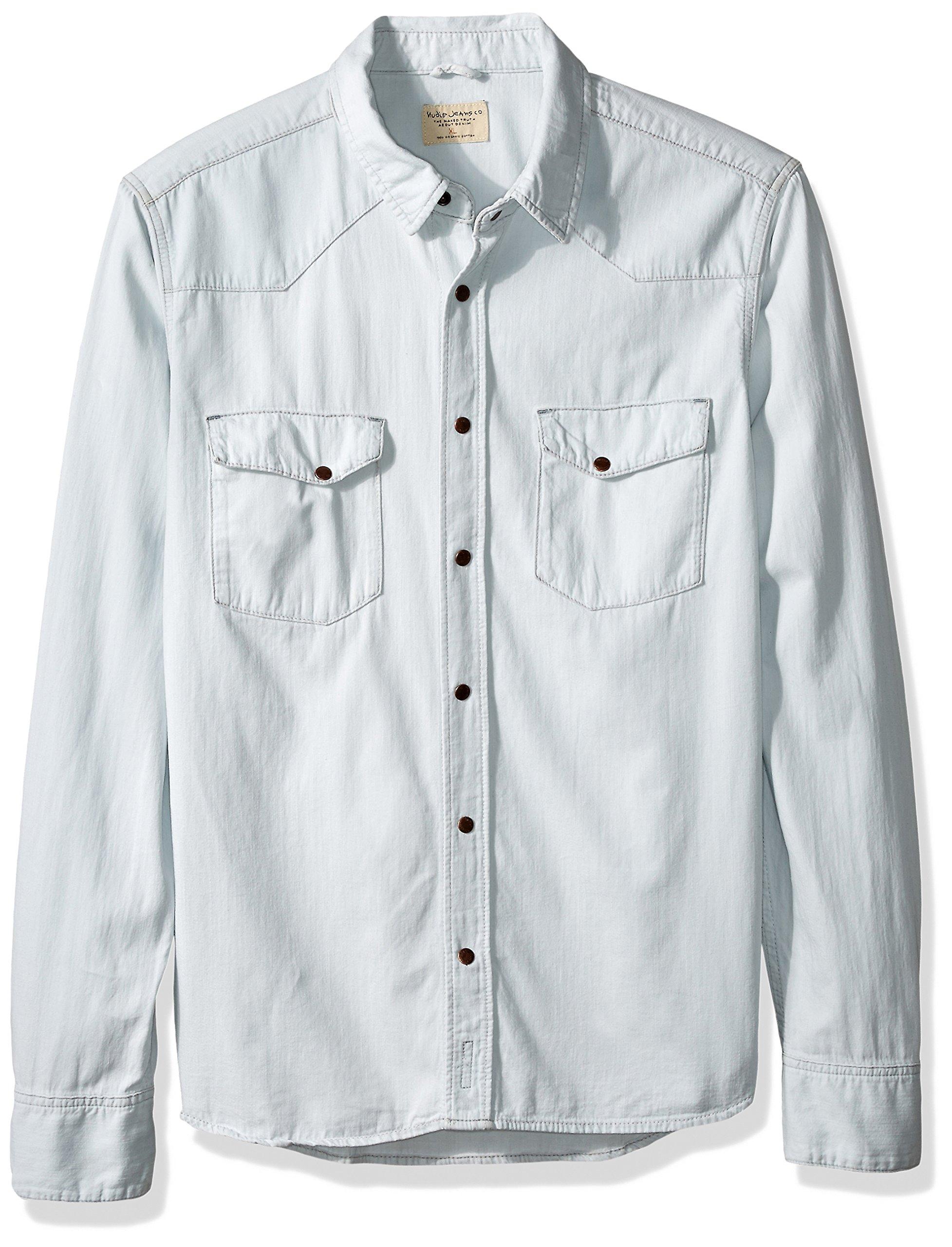 Nudie Jeans Men's jonis Denim Shirt, Faded Summer, Medium