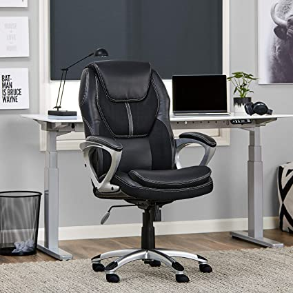 d9c5c4066a1 Amazon.com  Pemberly Row Office Chair in Puresoft Black Faux Leather   Kitchen   Dining