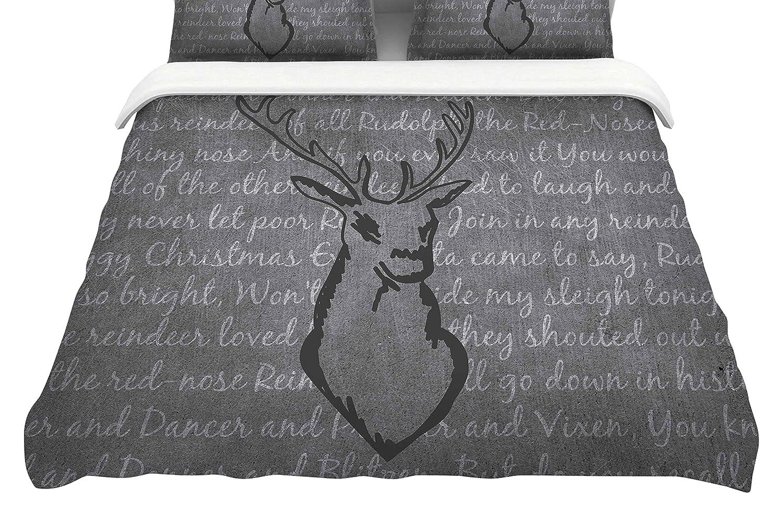 88 x 88, Kess InHouse NL Designs Reindeer Featherweight Queen Duvet Cover