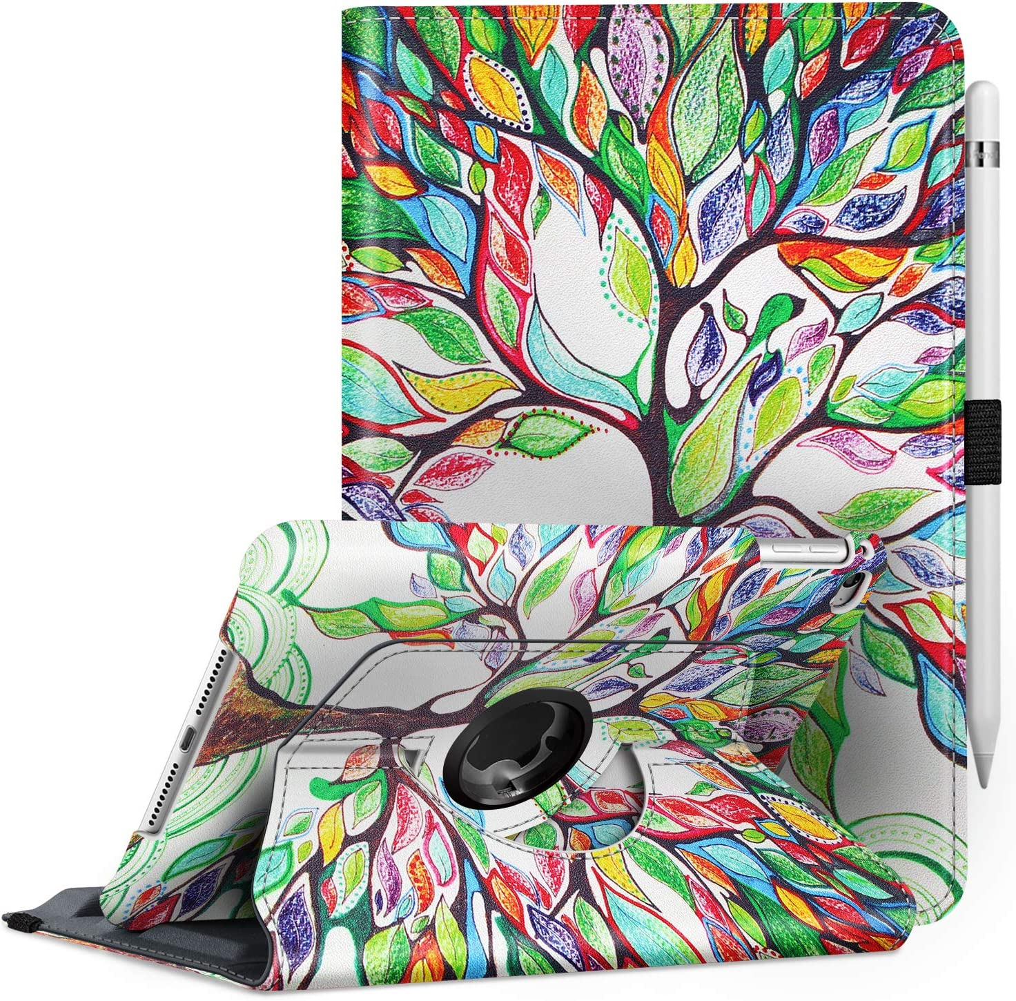 Fintie Rotating Case for iPad Mini 4-360 Degree Rotating Stand Case with Smart Cover Auto Sleep/Wake Feature for iPad Mini 4 (2015 Release), Love Tree