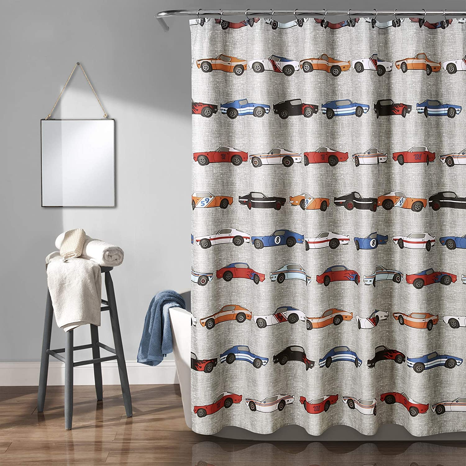 "Lush Decor 16T003145, Blue & Orange Race Cars Shower Curtain, 72"" x 72"""