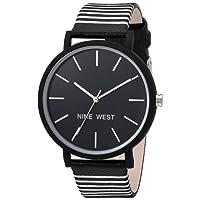 Nine West - Reloj de pulsera con correa a rayas para mujer