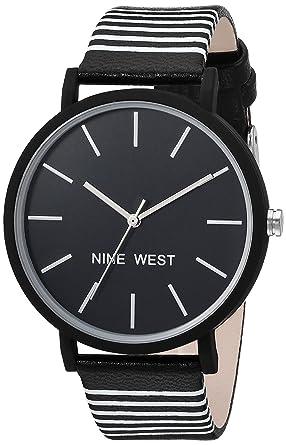 Nine West Womens Quartz Metal and Polyurethane Dress Watch, Color:Black