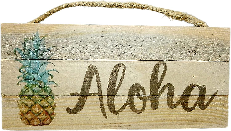 California Seashells Aloha and Pineapple Rustic Wood Sign Hawaiian Beach House Decor, 10 inch