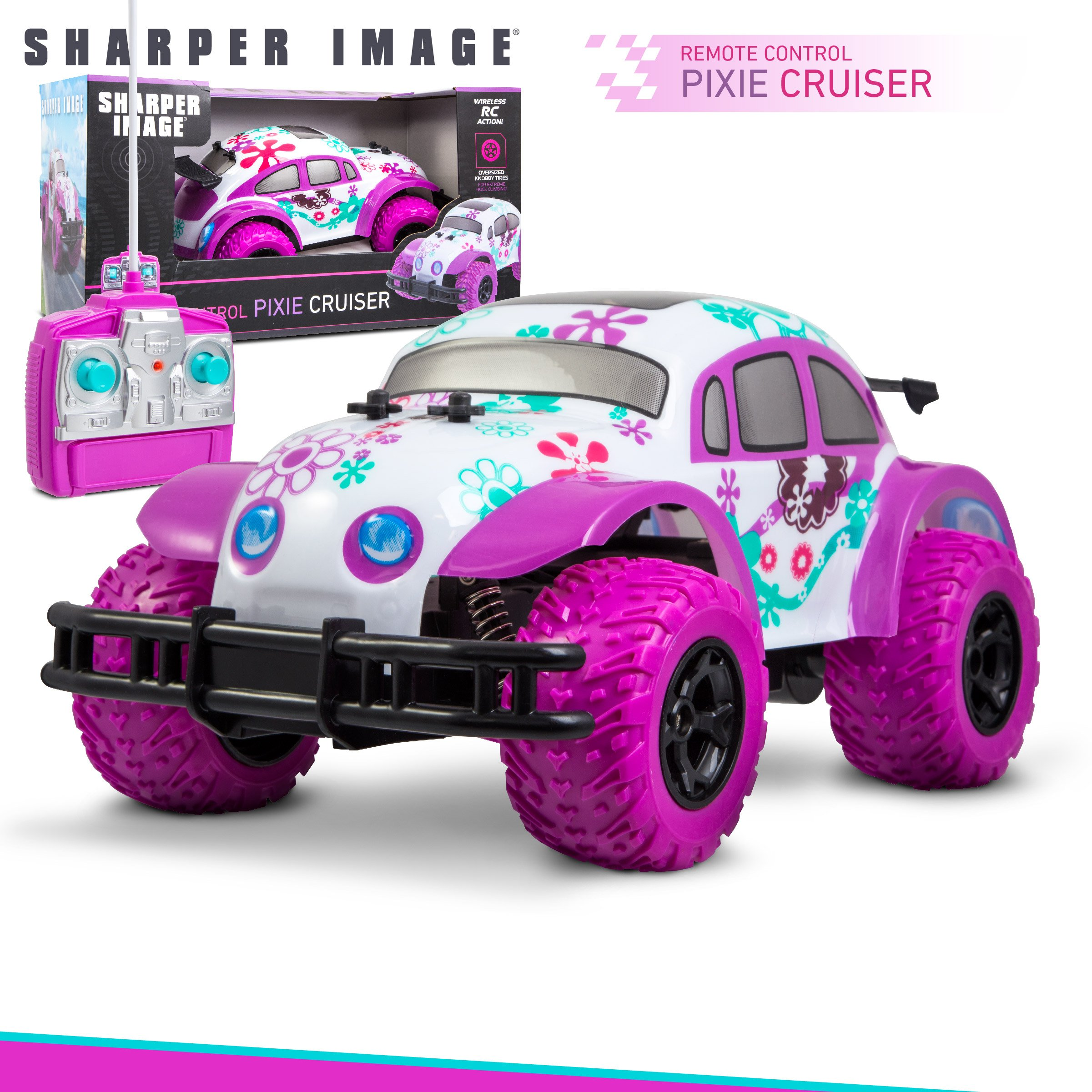 SHARPER IMAGE Pixie Cruiser Pink and Purple RC Remote Control Car Toy for Girls with Off-Road Grip Tires; Princess Style Big Buggy Crawler w/ Flowers Design and Shocks, Race Up to 5 MPH, Ages 6 Year + by Sharper Image (Image #7)