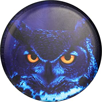 15 Inch PU Leather Spare Wheel Tire Cover With The Owl Pattern Black