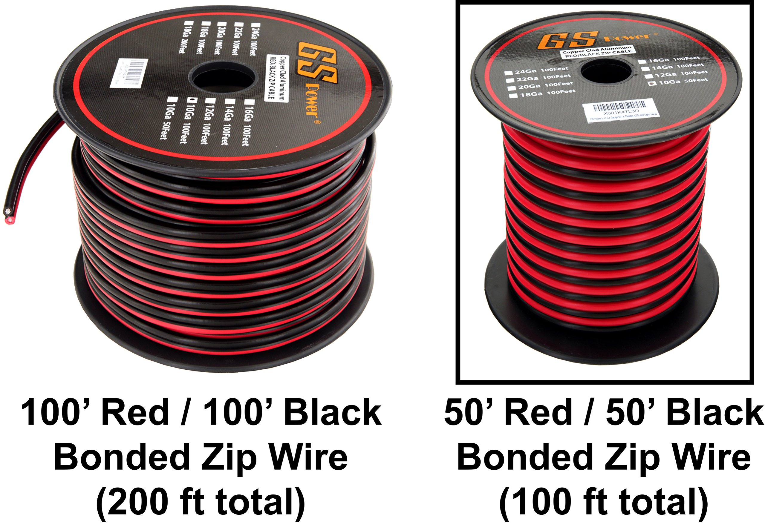 10 Gauge Ga 50 Feet CCA Copper Clad Aluminum Red Black Bonded Zip Cord Cable for Car Audio Speaker Home Theater LED Light Amplifier Remote Auto Relay Trailer Harness Power Ground Model Train Wiring by GS Power