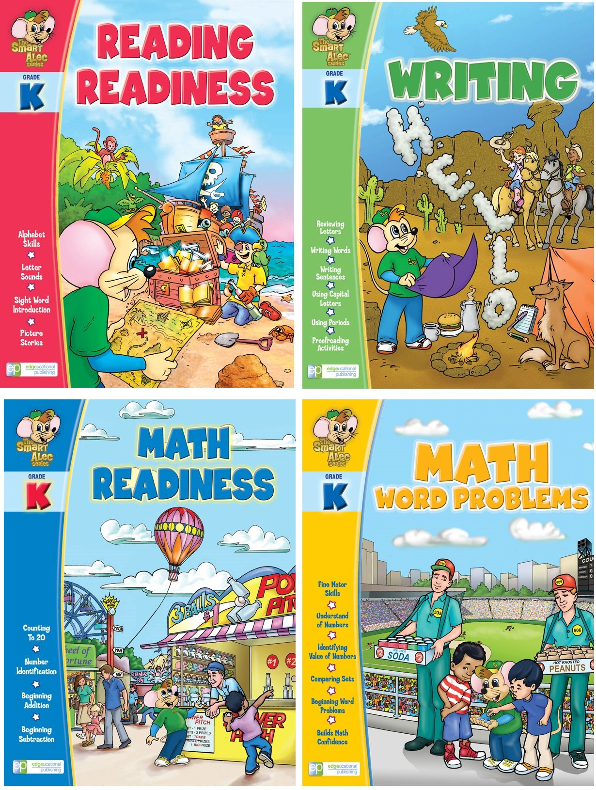 Smart Alec (Grade K) Four Pack Learning Series, Includes: Writing, Math Readiness, Reading Readiness, Math Word Problems