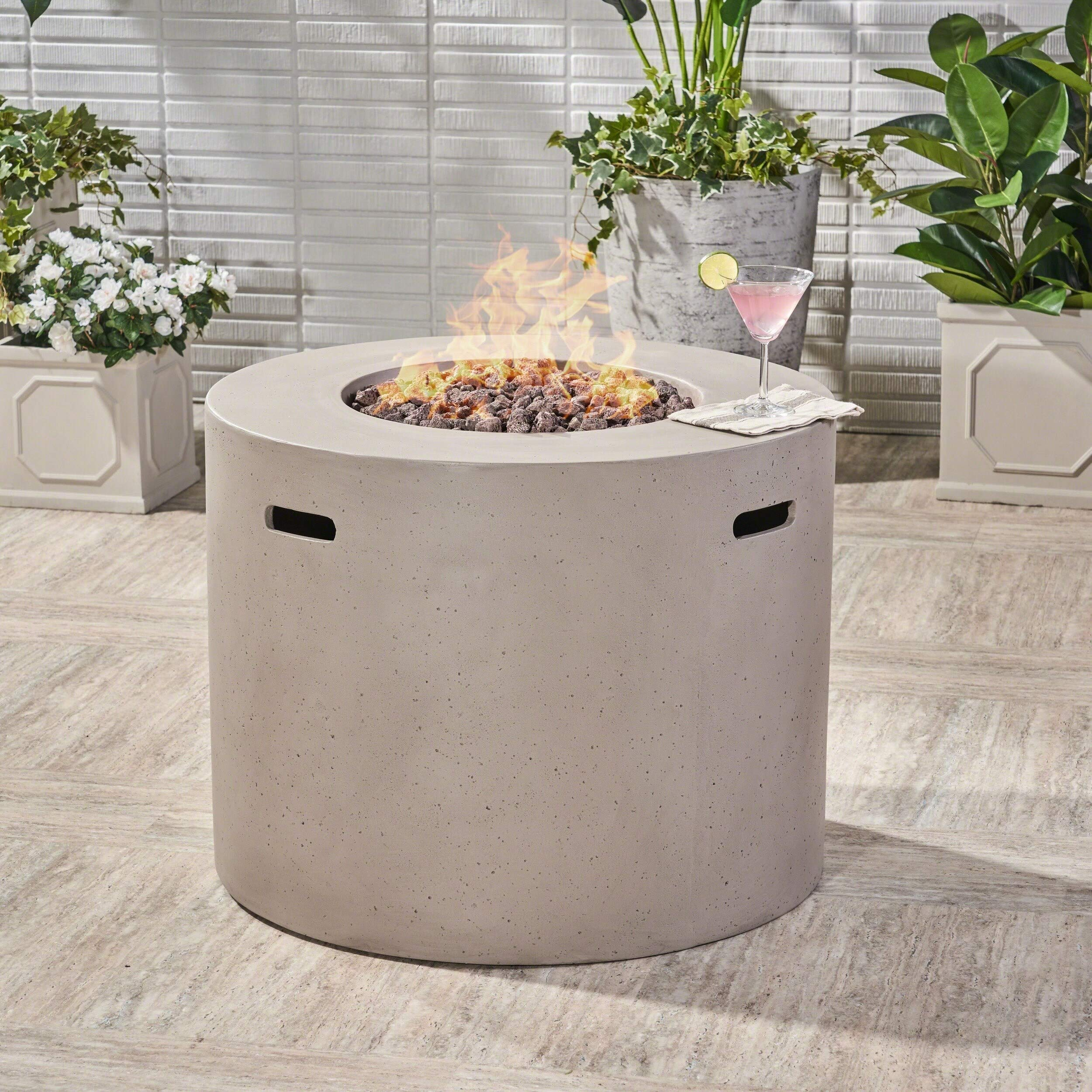 Christopher Knight Home Aidan Outdoor 31-inch Circular Propane Fire Pit Table w/Tank Holder by - N/A Light Grey by Christopher Knight Home