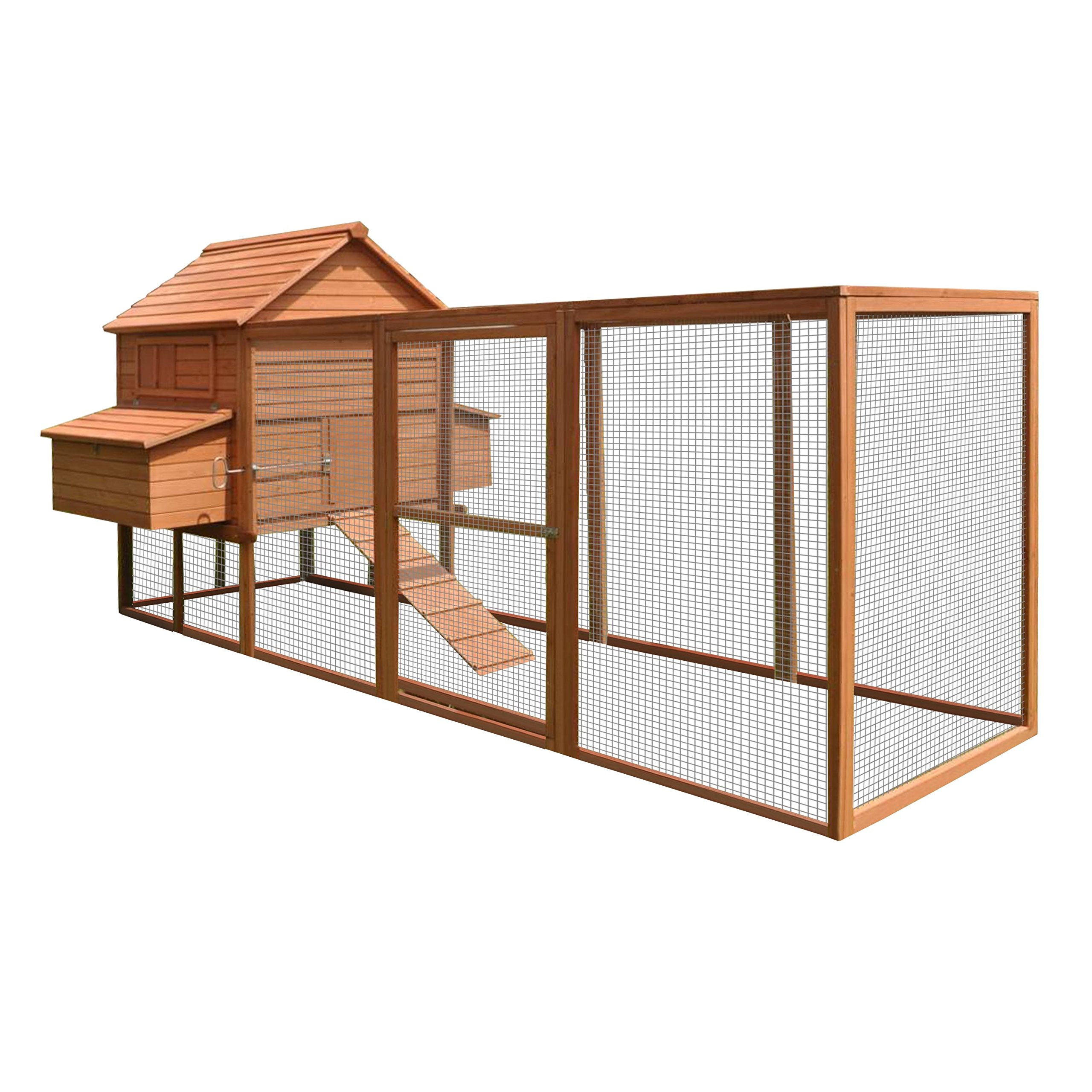 ALEKO DXH1000RD Spacious Wooden Pet House Poultry Hutch, Rabbits Chickens Hen Coop Wooden Cage 143.7 x 68.5 x 66.5 Inches, Red