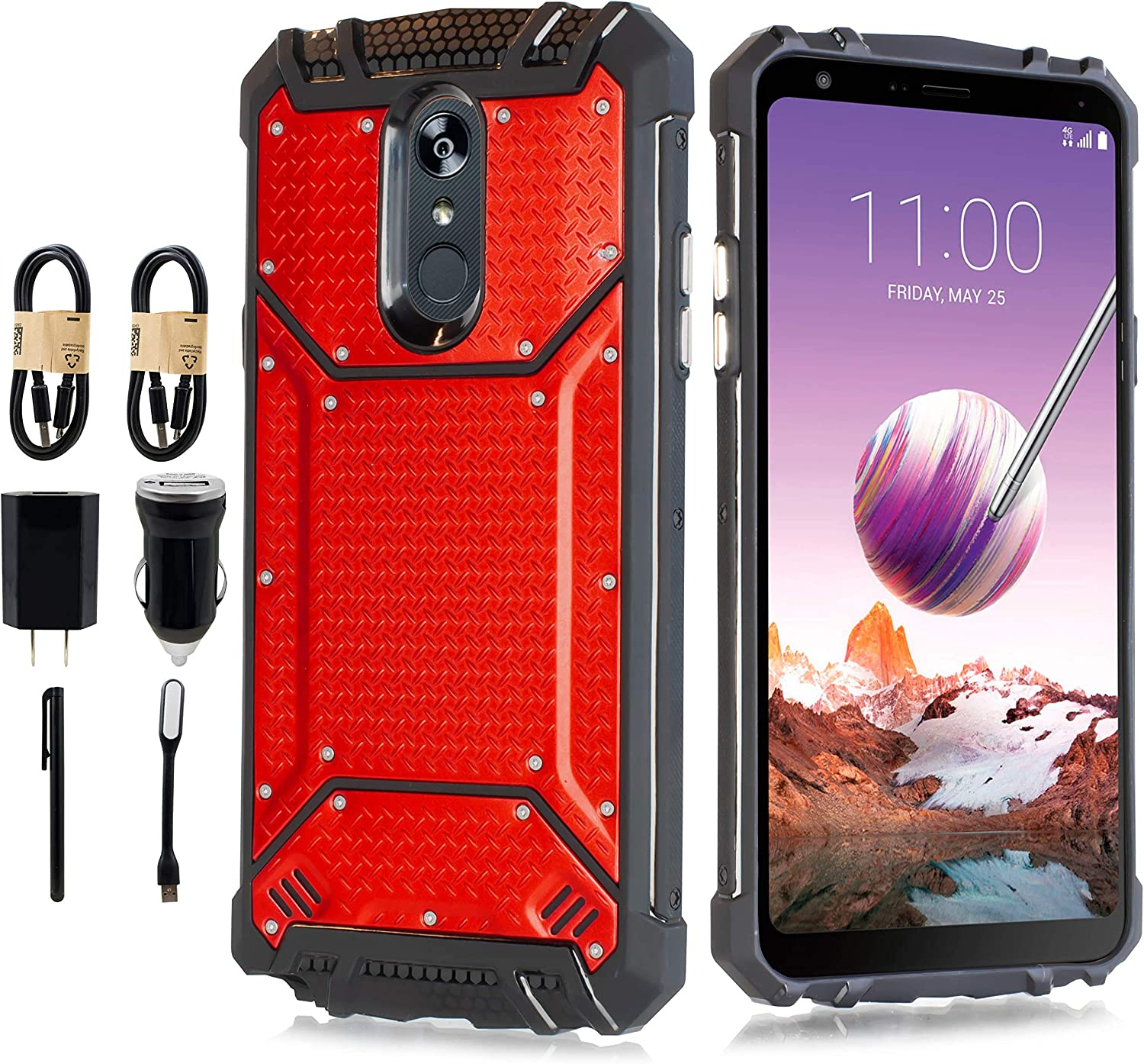Case for LG Stylo 5 case, Aluminum Metal Premium Drop Protection Shockproof Military Phone Case Cover with Built-in Metal Plate Back [Accessory Pack] (Red)