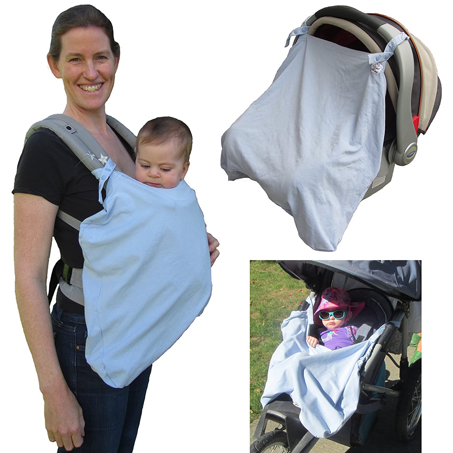 Little Goat Sun Cover UPF 50 for Car Seats, Baby Carriers & Strollers (Blue) Little Goat Carrier Covers