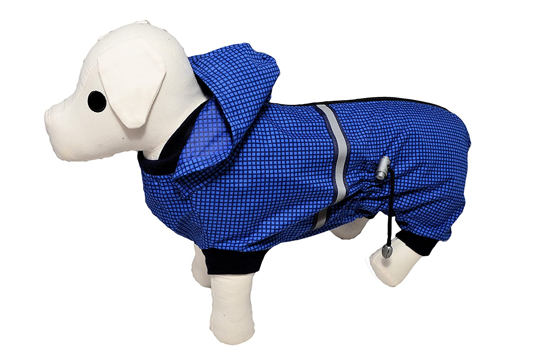 Azul diseño de cuadros escoceses chubasquero perro perchero de ...