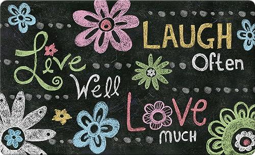 Toland Home Garden Live Laugh Love Chalkboard 18 x 30 Inch Decorative Floor Mat Inspirational Doormat