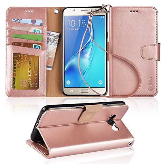 size 40 47f6c c96cb Arae Galaxy J7 Wallet Case with Kickstand and Flip Cover, Rosegold