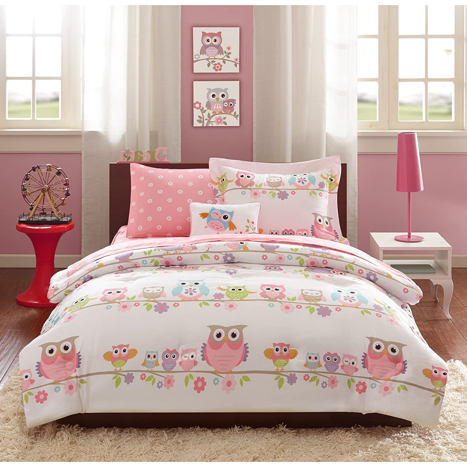 6 Piece Girls Pink White Green Animal Print Pattern Comforter Twin Set With Sheets, Light Pink Sky Blue Purple Fun Owl Little Birds Daisy Flower, Adorable Multi Kids Bedding Contemporary, Polyester