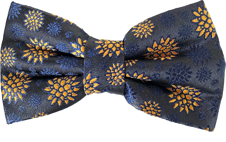 Colore blu scuro con fantasia senape Regolabile Papillon uomo completo di pochette