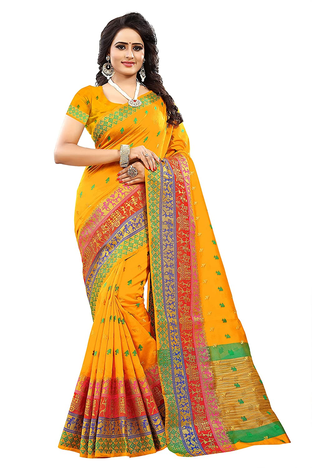 2eccdef01a3b6 Store Mart Women s Tussar Silk Saree Kanchipuram Style (Multi-Coloured)   Amazon.in  Clothing   Accessories