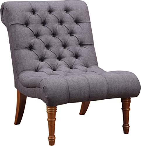 Tufted Accent Chair without Arms Charcoal Grey