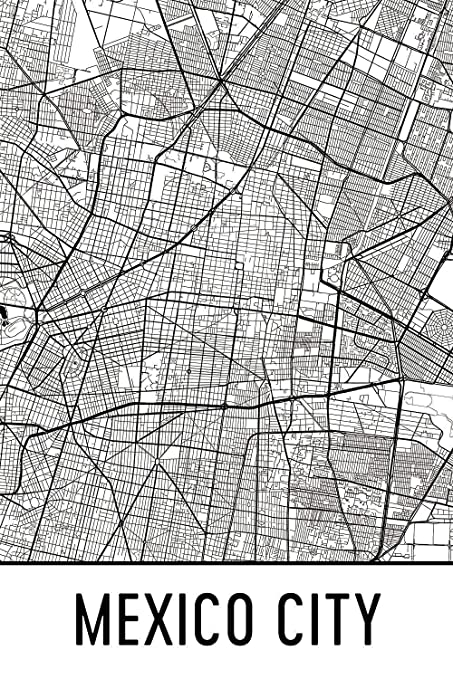 photograph about Printable Maps of Mexico named : Mexico Metropolis Print, Mexico Town Artwork, Mexico Town
