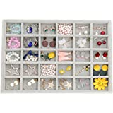 Outdoorfly Velvet Stackable 30 Grid Jewelry Tray Display Removable for Jewelry Earring Organizer Storage Showcase for Drawers