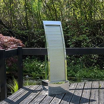 Köhko Terrassenbrunnen 21013 Aus Edelstahl Höhe Ca. 110 Cm Wasserspiel  Gartenbrunnen Mit LED Beleuchtung
