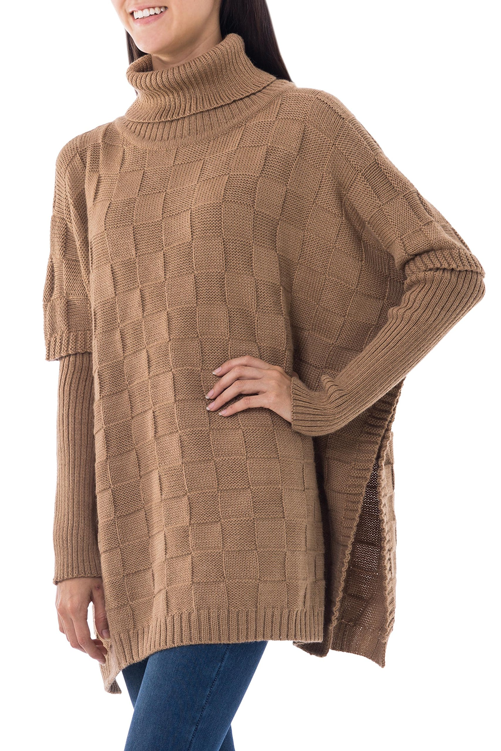 NOVICA Brown Alpaca Blend Poncho, 'Tan Contrasts'