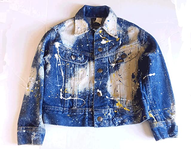4ef8e5d3437 Amazon.com  Kids Denim Jean Jacket Size 7 Lee Upcycled Distressed Bleached  With Paint Splatter Yellow White Blue Vintage  Handmade